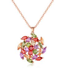FYM Fashion Flower Shape Necklaces & Pendents Cubic Zirconia Stone Wedding Crystal Jewelry Necklace For Women Party fym high quality fashion high heels shape crystal cubic zirconia necklace