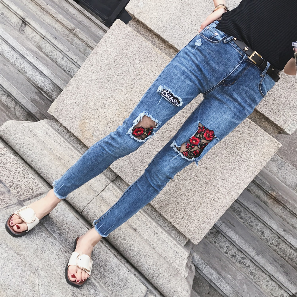 2017 New Fashion Floral Embroidery Mesh Ripped Hole mix Blue jeans Women Vintage Denim Pencil Pants Casual Low Waist Trousers 2017 fashion women jeans retro style floral embroidery ripped hole denim pencil pants vintage mid waist ankle length trousers