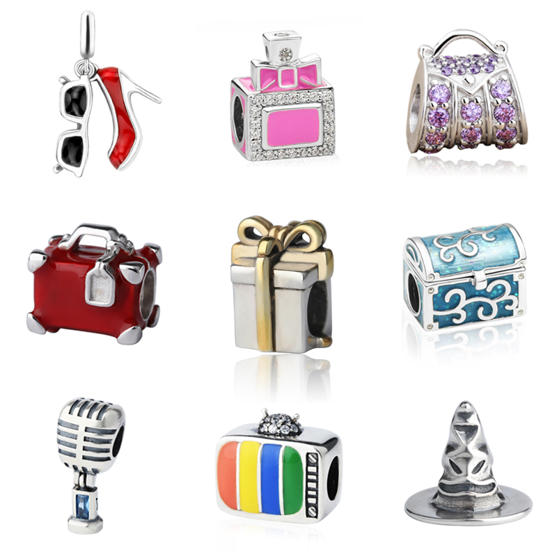 SG haute talon chaussures bouteille de parfum sac à main valise cadeau boîte charmes argent 925 fit original pandora bracelet bijoux et perles faire