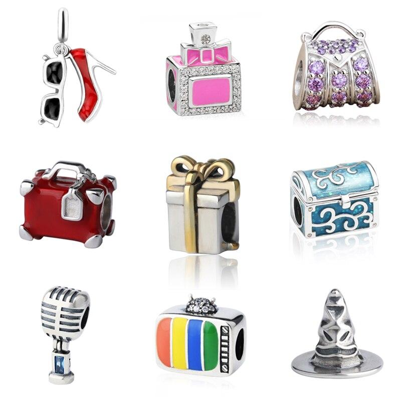 SG high heel shoes perfume bottle handbag suitcase gift box charms silver 925 fit original pandora bracelet jewelry&beads making