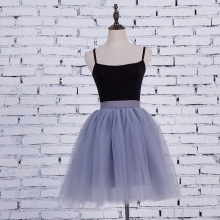 5 Layers 55cm Princess Midi Tulle Skirt Pleated Dance Tutu Skirts Womens Lolita Petticoat Jupe Saia faldas Denim Party Skirts