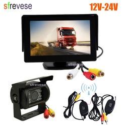 """Bezprzewodowa 18 LED IR Night Vision Parking samochodowy kamera cofania + 4.3 """"Monitor LCD zestaw do widoku z tyłu samochodu 12 V 24 V w Kamery pojazdowe od Samochody i motocykle na"""