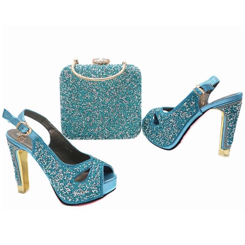 Nuevas fuchsia Decorado Tacones Y Juego verde Azul Sandalias Italia Woen rojo Cielo Rhinestone A Conjunto Bolsos Bolsa Con Zapatos Mujeres Africana Señoras oro pwr1qxFp