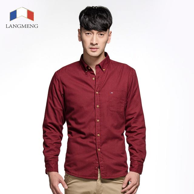 Langmeng super camisa ocasional dos homens de veludo 100% algodão grosso cor sólida camisas de vestido do homem slim fit camisa masculina chemise homme