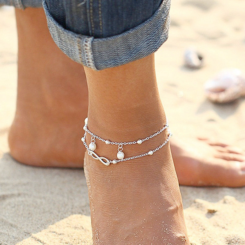 Sexy Summer Beach Bead Ankle Bracelet Silver Plated Imitation Pearls Barefoot Sandals Anklets Pie Leg Chain Female Boho Jewelry