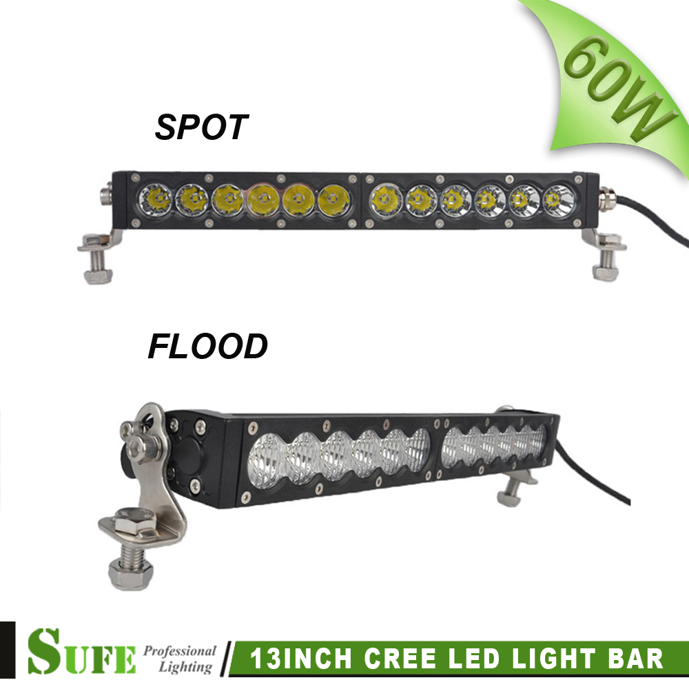 ФОТО SUFE 13 inch 60W Offroad LED Light Bar For Trucks Tractor Boat SUV ATV 4WD Trailer Spot Flood Beam Work Fog Light 12V 24V IP67