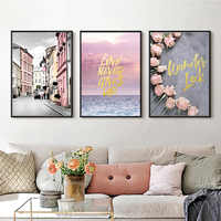 Nordic Seascape Poster Pink Roses Oil Canvas Painting Romantic Landscape Wall Pictures for Living Room Decoration No Framed