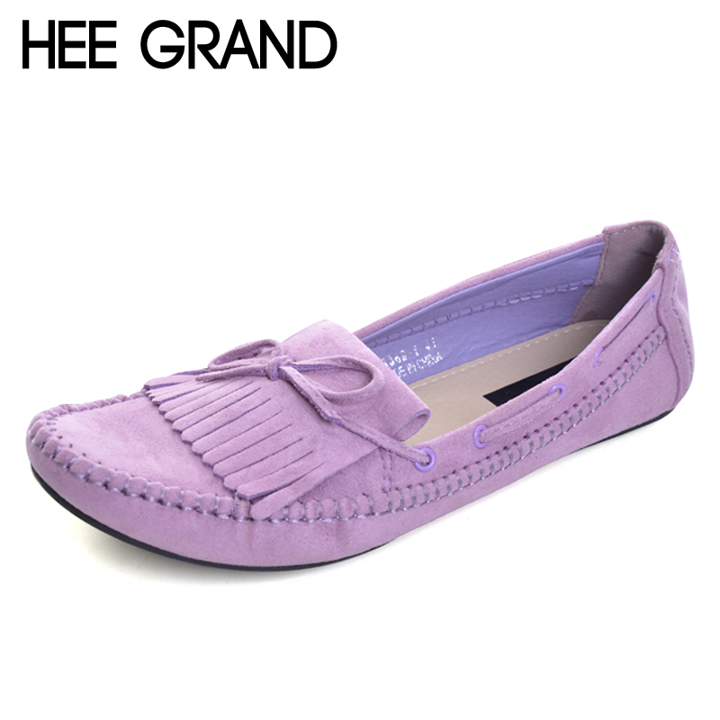 HEE GRAND Candy Color Women Loafers Tassel Fashion Round Toe Ladies Flat Shoes Woman Sweet Bowtie Flats Casual Shoes XWD2477 hee grand sweet faux fur slippers fashion flats shoes woman slip on bowtie winter warm women shoes 4 colors size 36 41 xwt966