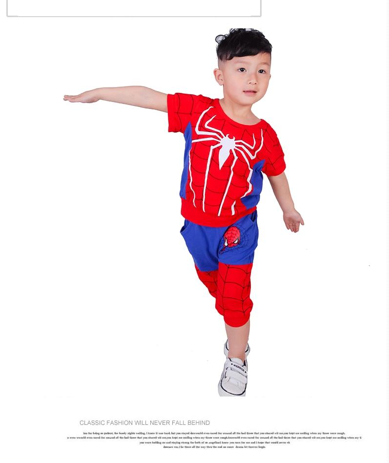 df3f90f73 2016 Summer children kids clothes sport set Spiderman short T-shirt + pants  2pcs sets