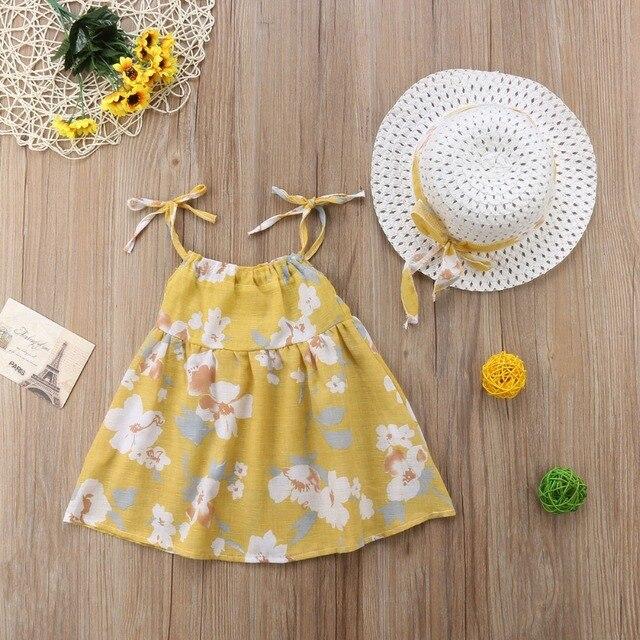 Newborn Toddler Girls Summer Floral Tutu Dress Vestidos Kids Baby Girl Princess Dresses Sundress Hats 2PCS Clothing Set Sunsuit 3
