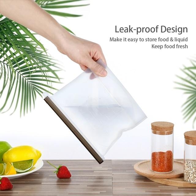 4PCS 1000ml Kitchen Food Sealing Storage Bag Reusable Refrigerator Fresh Bags Silicone Fruit Meat Ziplock Kitchen Organizer 4