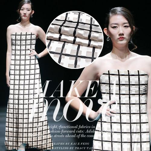 Exclusive custom white grid Silk burnt-out mulberry silk gauze cloth so beautiful new dress fabrics