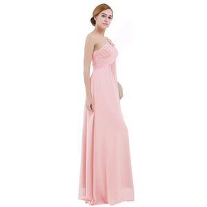 Image 2 - Women Ladies Long Bridesmaid Dress Chiffon One shoulder Pleated Lace High waist Floor Length Dress Wedding Party Prom Gown