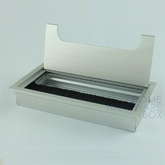 desk wire grommet aluminum table top hole cover silver tone ...