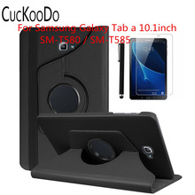CucKooDo 360 Rotating Case Cover for Samsung Galaxy Tab A 10.1-Inch SM-T580NZKAXAR/SM-T580/SM-T585 Tablet +Stylus+Screen Film
