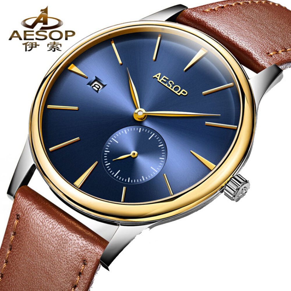 Simple Design AESOP Ultra Thin Watches Men  Blue Dial Automatic Self-Wind Waterproof Transparent Sapphire Brown Leather Clock automatic self wind men business fashion simple watches sapphire mirror black stainless steel strap blue dial mechanical clock