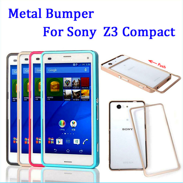 outlet store 77864 31373 US $10.99  For Sony Z 3 Compact Bumper Case Push Pull Metal Aluminum Case  Cover for Sony Xperia Z3 Compact / Z3 Mini D5803 D5833 4.6