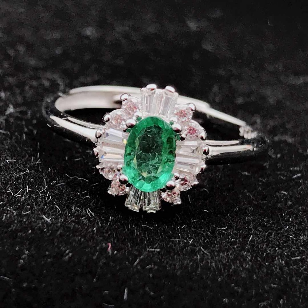 925 sterling silver Natural Emerald Ring fine Jewelry Customizable women open wholesale 4 6mm
