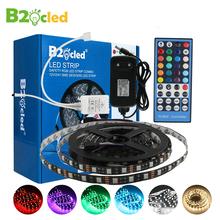 LED strip light 12V 5m DC SMD5050 White and Black Warm White RGB light tape lamp with adapter 3A 44key Controller
