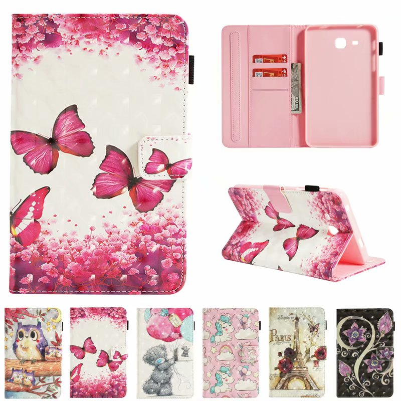 Cartoon Cute Fashion Cover For Samsung Galaxy Tab A 10.1 2016 T580 T585 Case Card Stand Book Protective Holder Shell Fundas