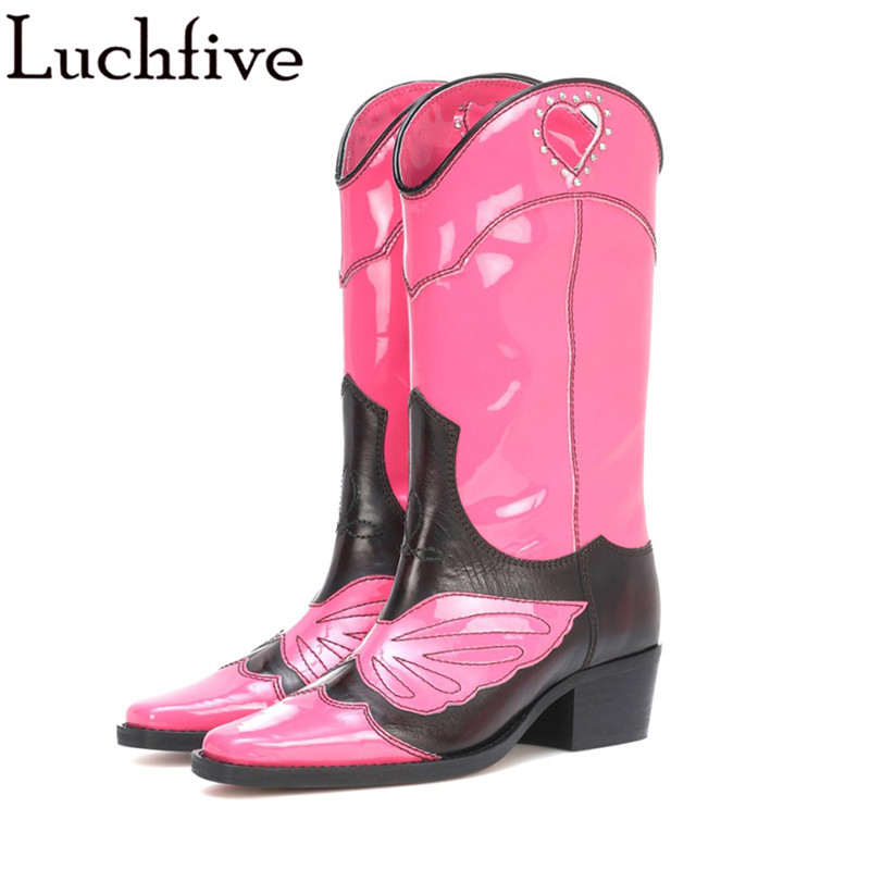 Newest real leather knee high boots for women embroidery butterfly knight ankle  boots pink black retro mid calf booties d695725adbc7