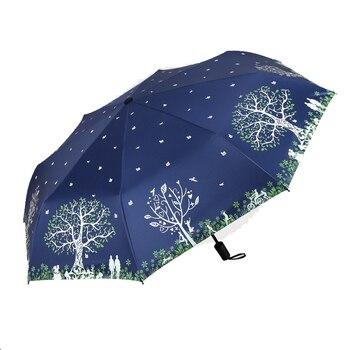 Happy tree soleado paraguas de lluvia de moda de las mujeres 3...