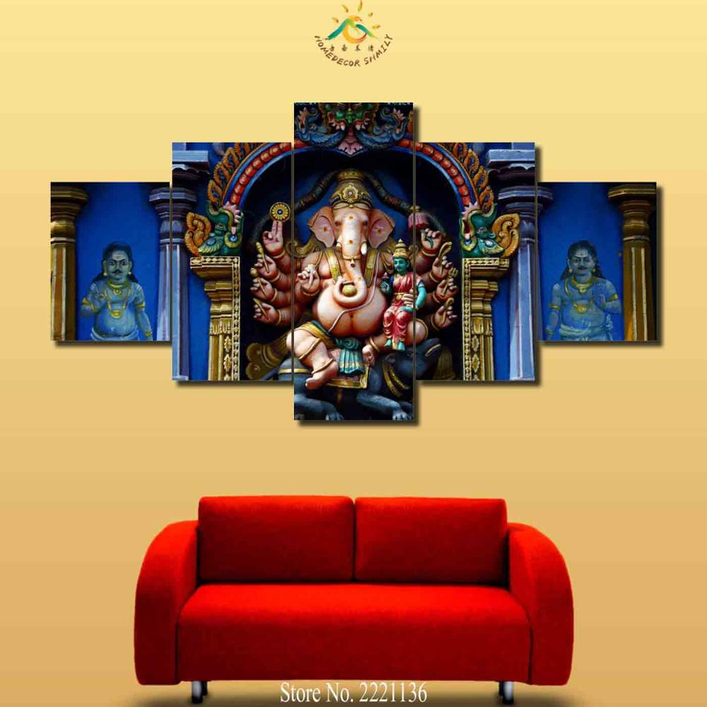 3 4 5 Pieces Elephant Buddha Pictures Modern Wall Art Painting HD ...