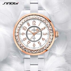Image 5 - SINOBI אופנה נשים יד יהלומים שעונים חיקוי קרמיקה רצועת השעון למעלה יוקרה מותג שמלת גבירותיי ז נבה קוורץ שעון 2020