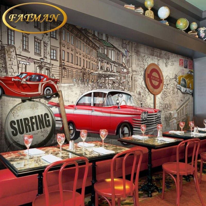 custom wallpaper 3D wallpaper retro nostalgia vintage car wallpaper ...