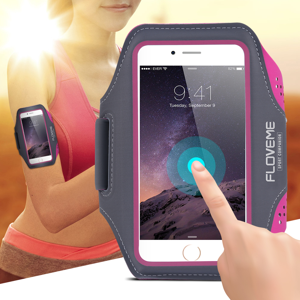 reputable site c927d 9e1e2 US $4.99 |FLOVEME Universal 4.8'' 5.7'' Screen Phone Sport GYM Running Bag  Case for Waterproof Arm Band Leather Mobile Phone Belt Cover-in Phone Pouch  ...