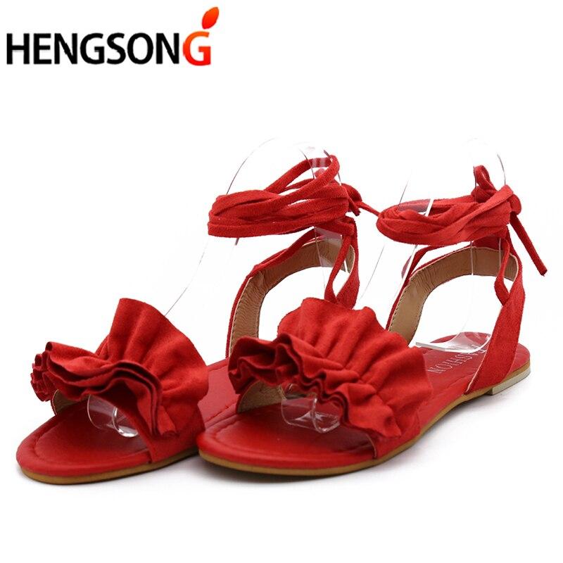 HTB1RslmbOb.BuNjt jDq6zOzpXaO Plus Size Women's Sandal Ruffles Shoes Woman Cross Bandage Sandals Summer Shoes Flats Lace-up Ankle Strap Sandalias Mujer 2018