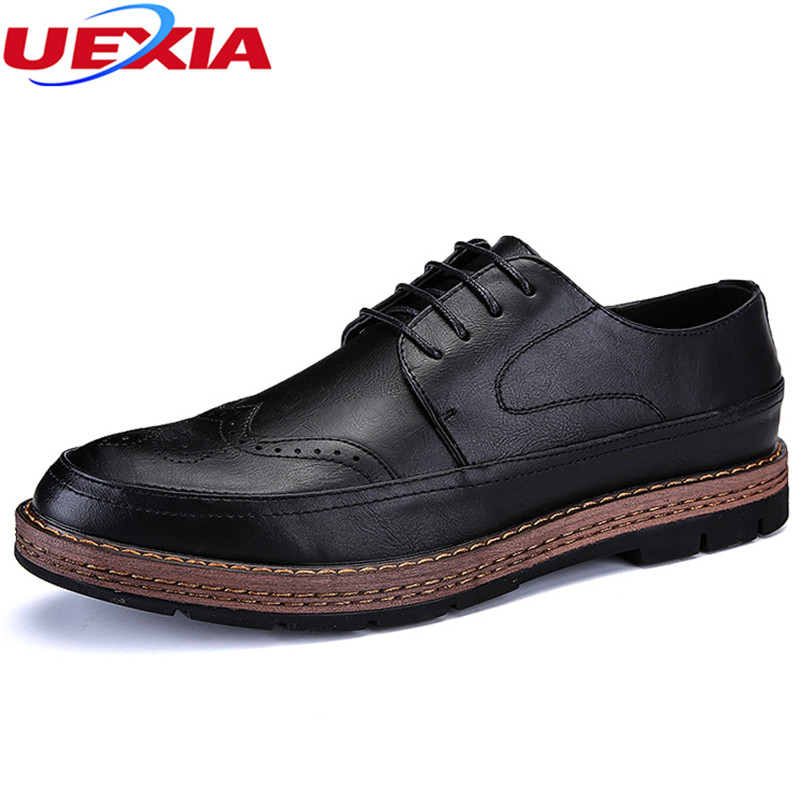 UEXIA New Luxury Vintage Men Business Dress Leather Office Casual Shoes Male Oxfords Fla ...