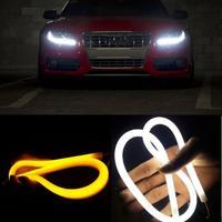 Car Light 2017 2X 60CM Flexible Tube Guide Car LED Strip White DRL Amber Turn Signal