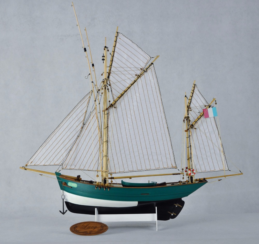 RealTS wood ship kit scale 1/50 French fishing boat kit wood sailing fishing ship model Lucy