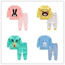 Детский пижамный комплект для детей, мягкая хлопковая одежда с принтом из мультфильмов топы с длинными рукавами и штаны одежда для сна для маленьких мальчиков комплект для маленьких девочек