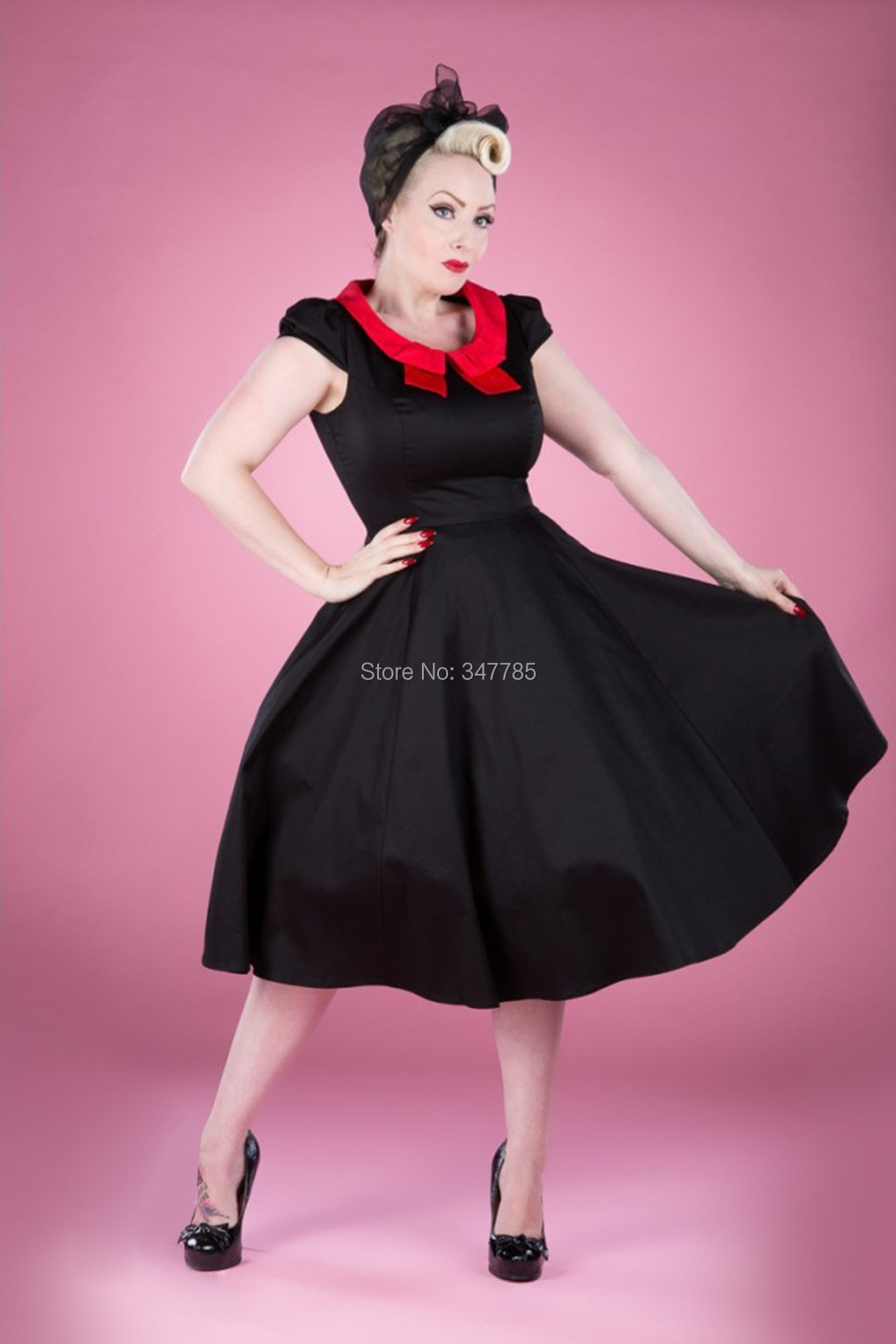 2014 mujeres del vintage 50 s retro rockabilly negro full swing ...