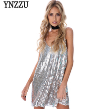 YNZZU Bling deep v sequin horny gown Women occasion luxurious sundress quick gown Autumn strap mini gown vestido camis YD127