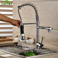 Contemporary Chrome Finish Solid Brass Spring Kitchen Faucet Two Spouts