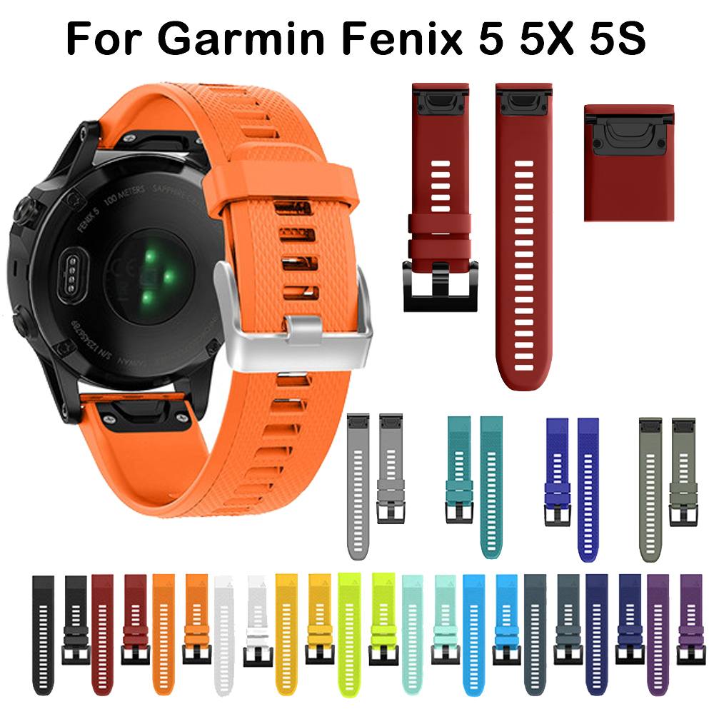 26 22 20MM Watchband For Garmin Fenix 6S 6X 6 5X 5 5S Plus 3 3 HR 935 945 Watch Quick Release Silicone Easy Fit Wrist Band Strap