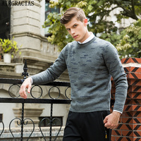 AIRGRACIAS New Mens Casual Brand Sweater Autumn Winter O Neck Thin Wool Knitwear Pullover Male Striped