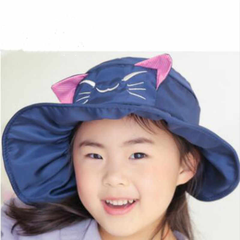 4d26ed16 ... which in shower solid cartoon cat kids sun hat outdoor summer sunscreen  beach cap wide brim