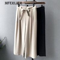 נשים קיץ אופנה מכנסיים מזדמנים שחור מוצק Loose אמצע מותן חגורת כיס צדדי רוכסן קשת קפלי מכנסיים רגל רחבים