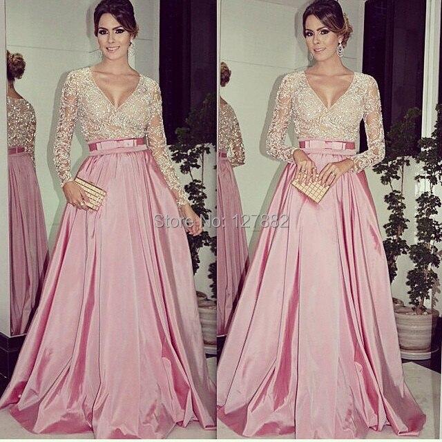Vestido de noche rosa claro con encaje de manga larga con cuello en ...