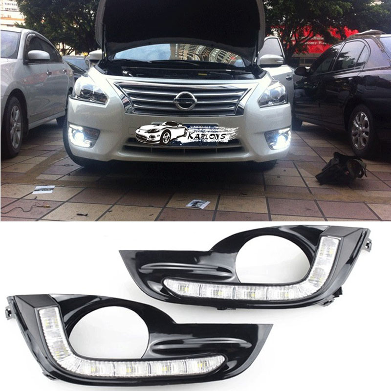 ФОТО Hireno Car DRL Waterproof ABS 12V Daytime Running Lights for Nissan Altima Teana 2013-15 Fog lamp 2PCS