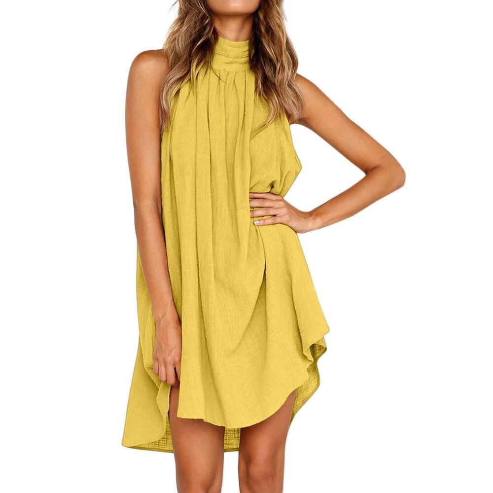 HTB1RsmfasvrK1Rjy0Feq6ATmVXat Womens Holiday Irregular Dress Ladies Summer Beach Sleeveless Party Dress vestidos verano 2018 New Arrival dresses for women