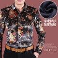 Осень и зима рубашка мужчина lansdowne длинными рукавами тонкий качества личности печатный рисунок рубашка китайский стиль vintage рубашка