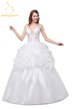 Juliana New Organza Spaghetti Straps Sexy V neckline Ball Gown Wedding Dresses 2017 Beaded Crystals Bridal Gowns In Stock QA1004