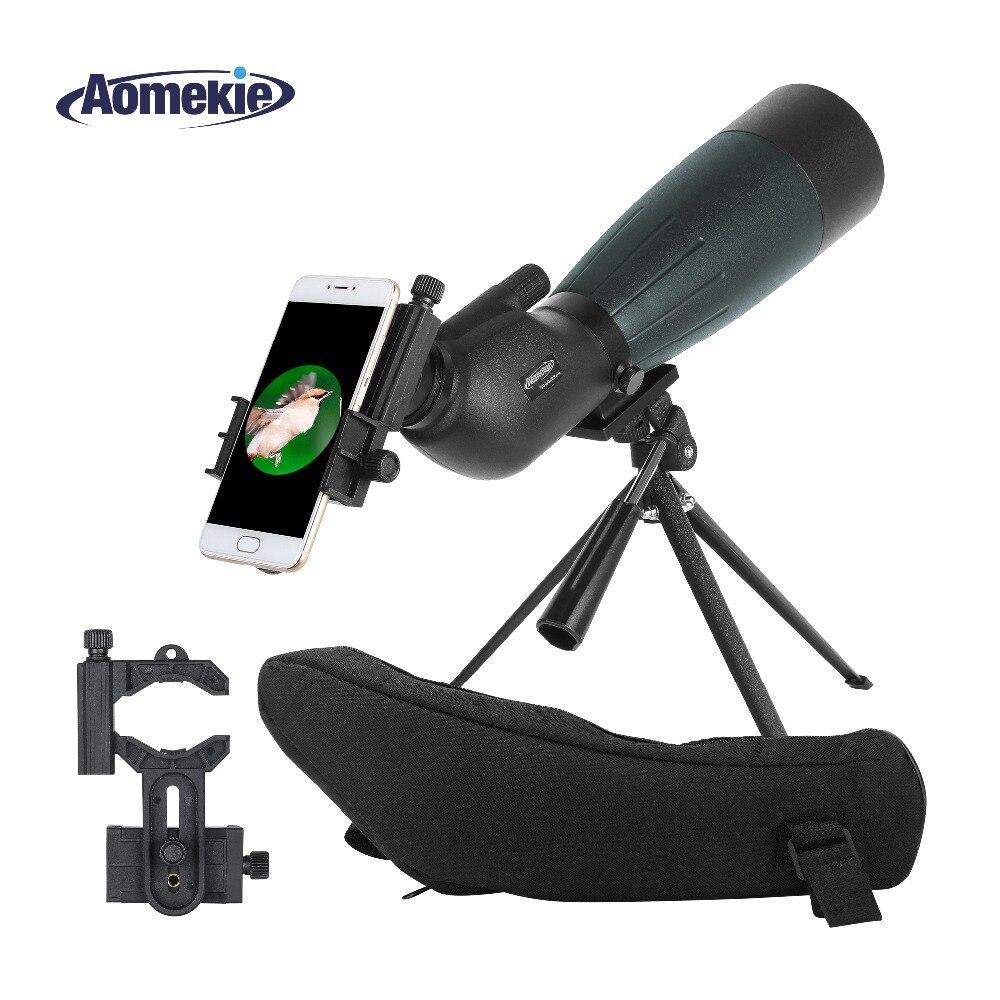 AOMEKIE 20-60X80 Spotting Scope Zoom Chasse Optique HD Camping Observation Des Oiseaux Monoculaire Télescope FMC Lentille avec Téléphone Adaptateur