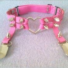 608a08446 Punk Rock Rivet Heart Garters Harajuku Handmade Pu Leather Double Studded  Spiked Vegan Garter Belt Suspender