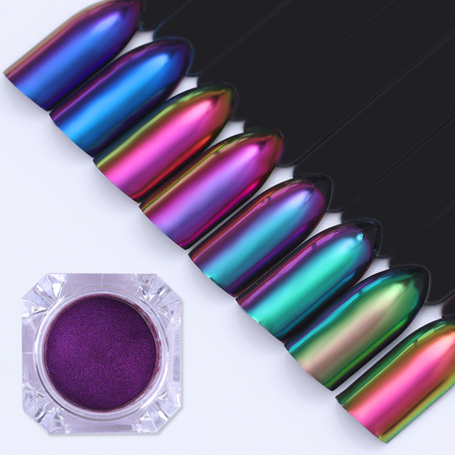1 Box 0.5g Nail Art Glitter Powder Chameleon Effect Nail Pigment  Manicure Nail Tips Nail Art Decoration